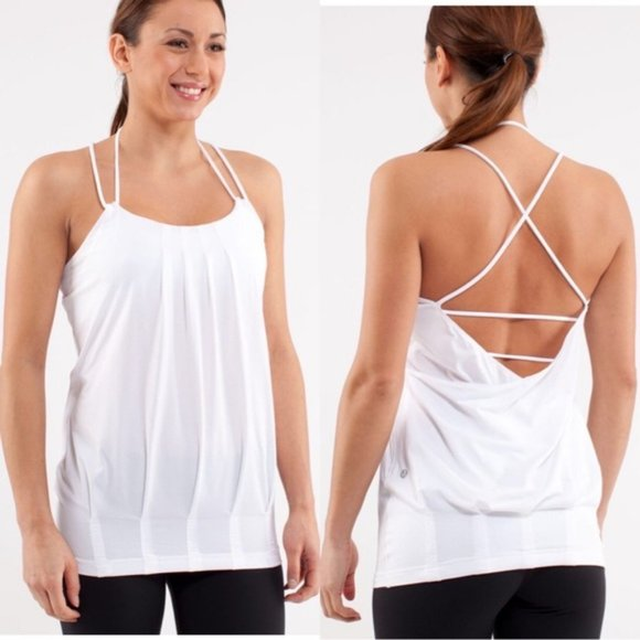 Lululemon White Flow and Go Strappy Tank Top Sz 8